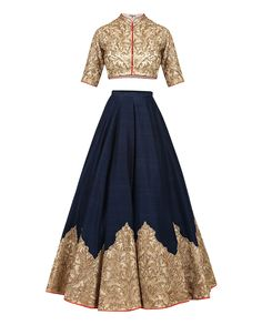 Shantanu & Nikhil Blue Lengha Set With Patchwork Border Western Dresses, Indian Dresses, Indian Outfits, Indian Clothes, Pakistani Dresses, Indian Bridal Lehenga, Indian Bridal Fashion, Traditional Fashion, Traditional Dresses