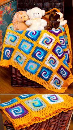 Crochet and Knitting Idea for Home Design Crochet Squares, Crochet Granny, Crochet Motif, Baby Blanket Crochet, Crochet Baby, Free Crochet, Crochet Patterns, Knit Crochet, Different Crochet Stitches