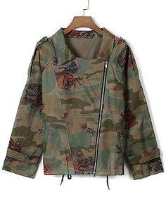 Army Green Epaulet Lapel Floral Drawstring Coat