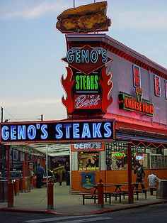 Geno's Steaks - Cheesesteak Restaurant - Diehards line up 24/7 for the cheesesteaks served up at this no-frills veteran spot. Address: 1219 South 9th Street, Philadelphia, PA 19147 Phone:(215) 389-0659 Hours: Open 24 hours Menu: locu.com