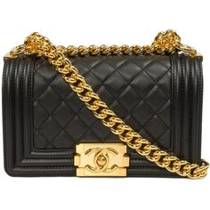 Chanel Boy Quilted Flap Bag ($3,895) ❤ liked on Polyvore featuring bags, handbags, bolsas, chanel, purses, black, quilted crossbody, chain purse, crossbody purse and hand bags