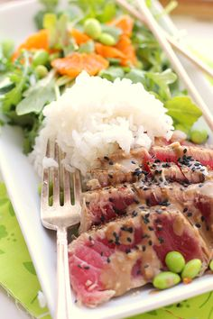 Seared Ahi & Arugula Salad w/ Ginger-Soy Dressing