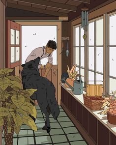 The Mudroom Wolf Artwork by Cassandra Jean - X-Small Art And Illustration, Art Illustrations, Aesthetic Art, Aesthetic Anime, Fantasy Kunst, Fantasy Art, Pretty Art, Cute Art, Anime Kunst