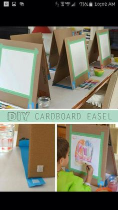 DIY Cardboard Easel There are many ways to make a quick easel. I might have learned quite a few tricks if I had actually researched before I made this project. But I'm much mo More<br> A quick and easy way to make a table easel out of cardboard.