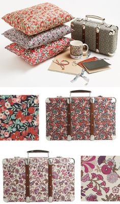 Fabric covered suitcases by Liberty of London