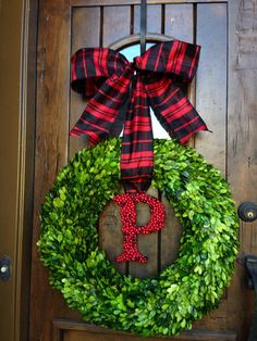 Christmas Boxwood Wreath with Holly Berry Letter