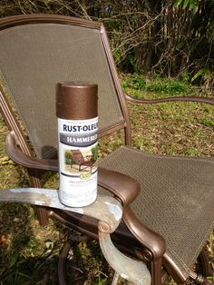 Rustoleum Hammered metallic spray paint for my upcycled patio set. Love it!