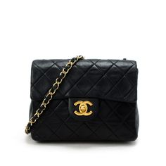 #Chanel black #lambskin #Mini #Matelasse single chain shoulder bag. Available at lxrco.com for $1999