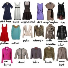 Dress and Jacket Types Via More Visual Glossaries: Backpacks / Bags / Hats / Belt knots / Coats / Collars / Darts / Dress Silhouettes / Hangers / Harem Pants / Heels / Nail shapes / Necklaces /...