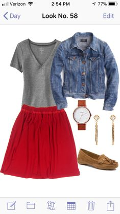 modest red skirt outfit, modest casual outfit Red Skirt Outfits, Red Skirts, Lauren Conrad Kohls, Modest Casual Outfits, Casual Chic, Outfit Of The Day, Going Out, Midi Skirt, Driving Loafers