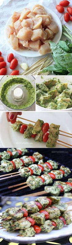 Grilled Pesto Chicken and Tomato Kebabs.  Could work for an appetizer as well.