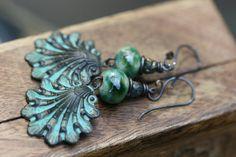 Rustic Boho Tribal 'Shell' earrings n114 verdigris by Tribalis