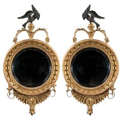 chpt 4: Pair of English Regency Convex Mirrors with Eagle Pediments