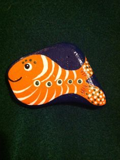 Orange Hand Painted  Fish Fridge Magnet by SallyStones on Etsy