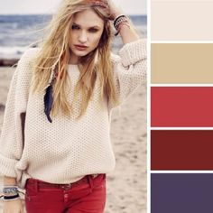 15 Ideal Color Combinations to Make You Look Great - I hadn't thought of using paint department color cards to help put outfits toether but that's what this looks like and it works! Colour Combinations Fashion, Color Combinations For Clothes, Fashion Colours, Colorful Fashion, Color Combos, Casual Outfits, Fashion Outfits, Womens Fashion, Fashion Tips