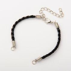 Braided Black Bracelet Cords  Qty: 6  (LB-100) by CarolinaFindingsEtc on Etsy
