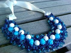 Aegean Blue Crocheted Bib Statement Necklace by Margica on Etsy, $120.00