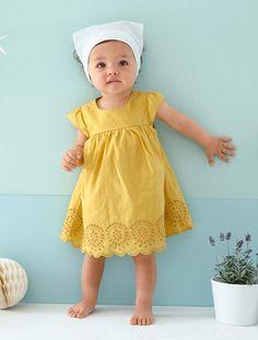Vestido de bordado inglés bebé AMARILLO OSCURO LISO+BLANCO CLARO LISO+GRIS OSCURO LISO