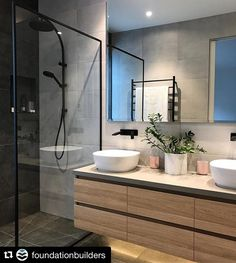 ・・・ Love this ensuite at our Mitchell St Project in Mornington. Design by built and styled… dusche Bathroom Grey, Bathroom Wallpaper, Bathroom Renos, Laundry In Bathroom, Small Bathroom, Houzz Bathroom, Condo Bathroom, Ensuite Bathrooms, Bathroom Furniture