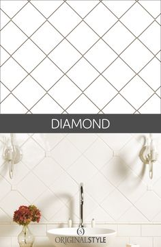 Add some elegance by simply laying square tiles in a diamond pattern; this is a widely used tiling layout which works well on both walls on floors. If your wall or floor isn't perfectly square, a diagonal layout like this will help hide any imperfections.