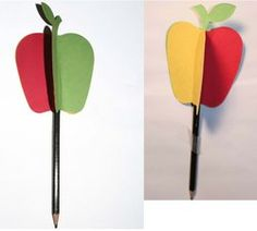 """Apple crafts: Apple toppers for a pencil are made by gluing 3 different colored apples together and then sliding a pencil inside, while the glue is still wet.  Rub the pencil between the palms of your hands and make the apple """"twirl."""" Explain the fraction concept of """"whole"""" and """"half"""" too. FREE pattern."""