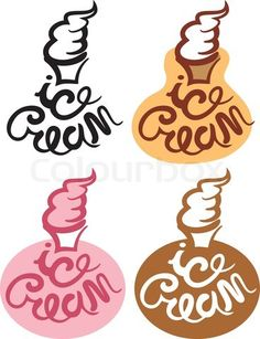 Ice cream sign with inscription stock vector