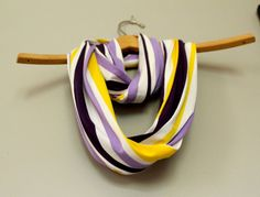 Infinity or Loop scarf Purple and Gold; fun for a ECU, LSU, WCU, Vikings or lakers fan!