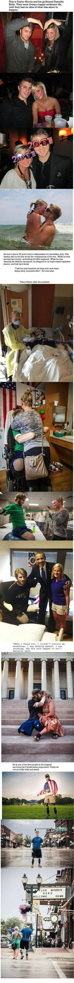 This brought tears to my eyes. God bless the man, and the woman that supported him through it. And most of all, God bless our troops.