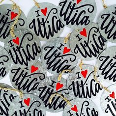 """The holiday season is ramping up in The Adirondack Ink studio!!! Check out these """"I  Utica"""" ornaments that are part of @madeinutica's """"Homebrewed for the Holiday"""" gift box! Visit their IG profile for website and pre-order information!  #theadirondackink #ink #custom #hometown #ornaments #galvanized #metal #homebrewed #holiday #shopping #tree #picoftheday #uticany #utica #madeinutica #heart #love #lettering #lettered #moderncalligraphy #typography #shoplocal #shophandmade #shop #etsy…"""