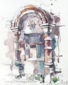 Today I returned to the house with beautiful columns. It is located in the historical center of Tula. Watercolor Journal, Watercolor Drawing, Abstract Watercolor, Watercolor Paintings, Watercolor Architecture, Architecture Sketchbook, Art Sketchbook, House Sketch, City Illustration