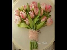 Вышиваем букет тюльпанов лентами - YouTube
