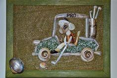 "Miniature mixed media seashell mosaic ""Pro"", by Alla Baksanskaya. http://allaexpression.com/blog/golf-and-seashells-have-a-lot-in-common/"