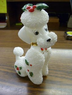 ADORABLE Vintage Retro Christmas Holly French Poodle Figurine Fine Porcelain WOW | eBay