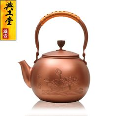 2016 Cast Iron Tea Pot No Coating Japanese Kung Fu Tea Set Handmade Japan Brass Purple Copper Lotus Kettle Pot With Filter