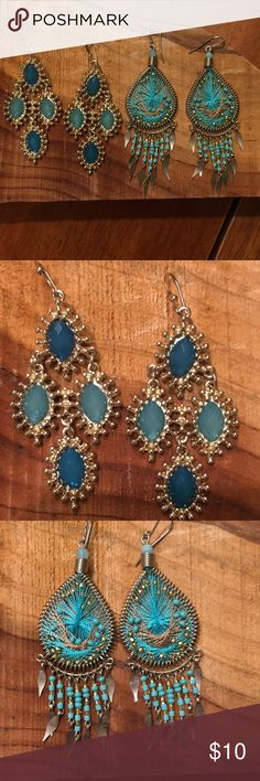 """Earring Bundle #1: Shades of Turquoise & Gold 