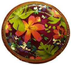 "Custom & Unique {7"" Inch} 8 Count Multi-Pack Set of Medium Size Round Disposable Paper Plates w/ Jungle Paradise Wild Flowers Celebration Party Event Design ""Purple Brown Green Pink & Yellow Colored"""