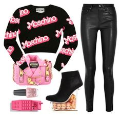 """""""Bad Barbie."""" by sharplilteeth ❤ liked on Polyvore featuring Moschino, Helmut Lang and OPI"""