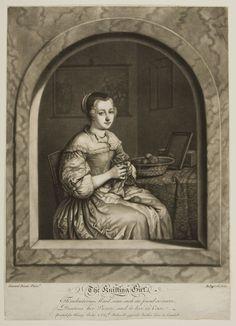 Knitting Girl | Harvard Art Museums  Richard Purcell. British (1736 - 1765)  After Gerhard Dou  Dutch (1613 - 1675)  Knitting Girl. Print. British, 18th century. Mezzotint