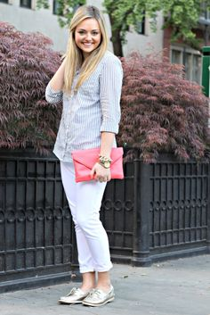 White Denim Summer Outfit - perfect for a casual Friday!