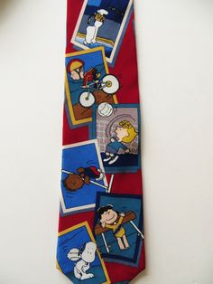 Peanuts Gang Necktie, Comic Cartoon, The Games of Life, Silk Necktie, Charlie Brown Snoopy, Pigpen Lucy Linus, Novelty Necktie, Sports Theme by TomCatBazaar on Etsy