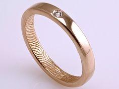 14k Rose Gold Engagement/Wedding Ring - by Brent  Jess Custom Handmade Fingerprint Wedding Rings and Jewelry
