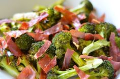 Want another quick & tasty variation on roasted broccoli with crispy salty pig bits? Here's what I gathered to feed 4-6 people as a side dish: • 2 large bunches of broccoli, cut into florets (there...