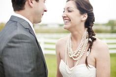 Strands and strands of pearls ~ lovely! Photography by  Indianapolis Wedding at Poplar Ridge Stables on Style Me Pretty