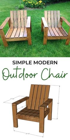 Stylish modern wood outdoor chairs in a compact footprint! Reclined seat and back for comfort, wide armrests. Fits a standard size chair pad. These chairs are smaller in size, more of the size of a dining chair, not oversized like a living room chair. #anawhite #anawhiteplans #diy #diyfurniture #outdoorchair Modern Outdoor Chairs, Outdoor Furniture Plans, Diy Pallet Furniture, Outdoor Decor, Outdoor Wood Projects, Outdoor Living, Furniture Ideas, Cool Diy Projects, Project Ideas
