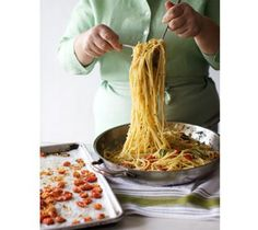 Lidia's Italy: Recipes: Pasta with Baked Cherry Tomatoes