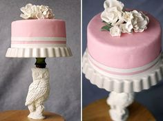 Here's an easy and fun way to create your own unique cake stand with materials found from a thrift store!