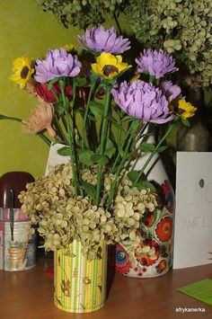 Kwiaty z bibuły - astry i słoneczniki