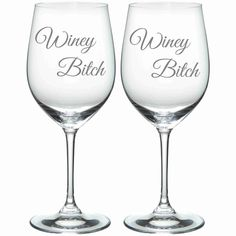 Winey Bitch Etched Glass Set of 2 Choose from by WulfCreekDesigns, $29.95