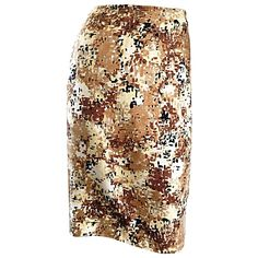 PRADA Fall 2001 Brown Cream Tan Silk ' Splatter ' Print High Waist Pencil Skirt | From a collection of rare vintage skirts at https://www.1stdibs.com/fashion/clothing/skirts/
