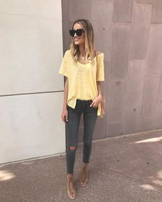 """4,161 Likes, 62 Comments - Taylor Morgan (@littleblondebook) on Instagram: """"A sunny #ootd in an easy tee, favorite jeans and these cute lace up heels. (SO comfy and tons of…"""""""